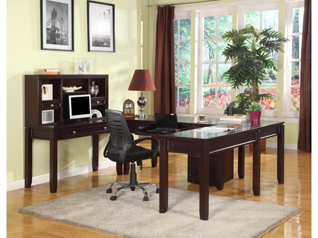 Shown with Three Writing Desks, Hutch and Corner Table
