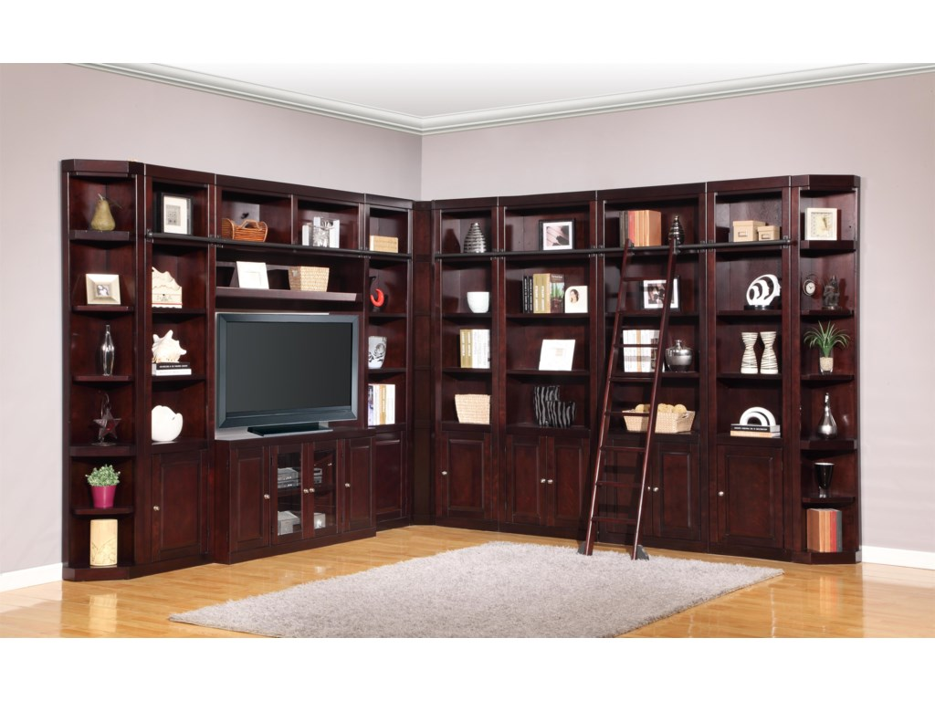 Form Two-Wall Entertainment Library with Additional Bookcases and Corner Pieces