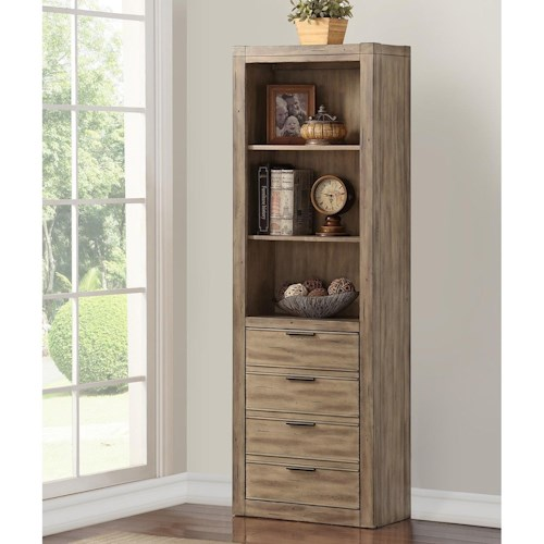 Parker House Brighton Contemporary Bookcase with Discrete Door and 3 Shelves