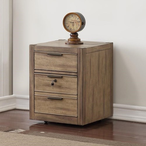 Parker House Brighton Contemporary Rolling File Cabinet with Locking Drawer