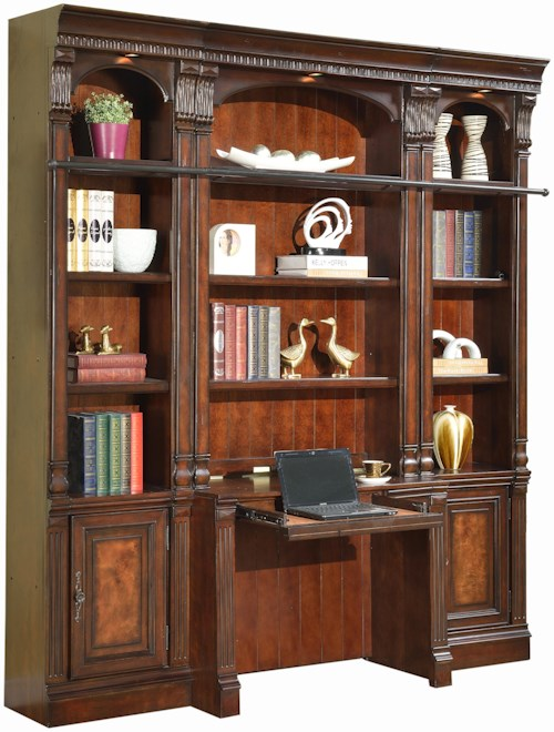 Parker House Corsica Four-Piece Library Wall with Desk and Canister Lights