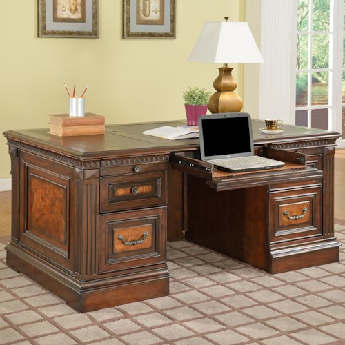 Parker House Corsica Double Pedestal Executive Desk with Tooled Leather Writing Surface, 2 File Drawers and Decorative Burl Front with Hidden Storage Compartments