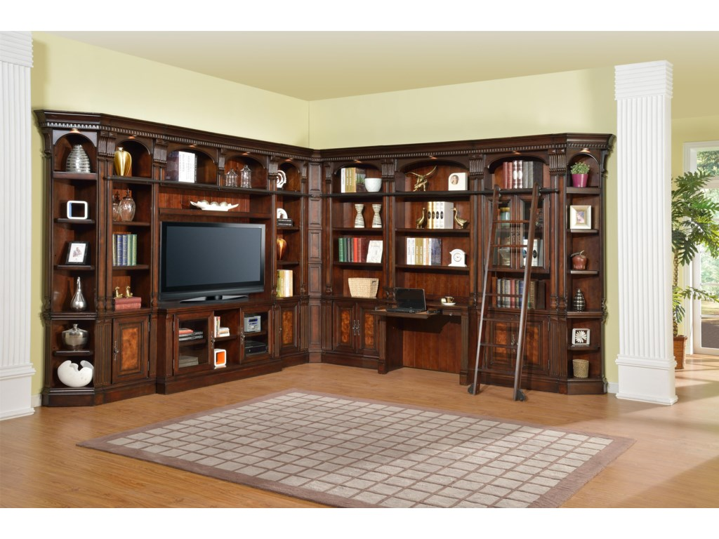 Shown with 60-Inch TV Console, Bookcase Bridge and Back Panel, 22-Inch Open Top Bookcases, 32-Inch Open Top Bookcase, 2-Piece Library Desk, 32-Inch Glass Door Cabinet, Inside Corner Filler and Outside Corner Units