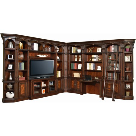 """Library Wall with Desk and 60"""" Console"""