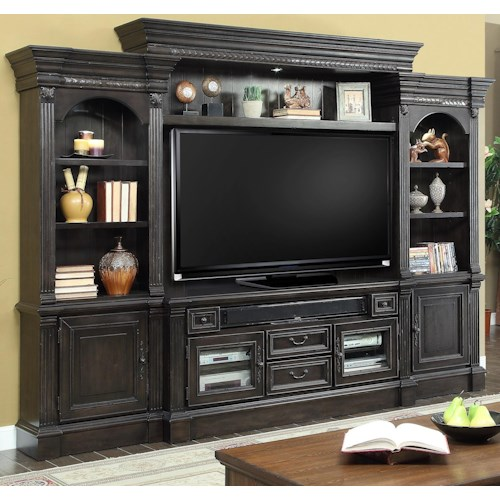 Parker House Fairbanks 4 Piece Entertainment Wall with Pier Cabinets
