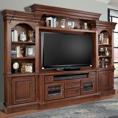Parker House Franklin 4 Piece Entertainment Wall with Pier Cabinets