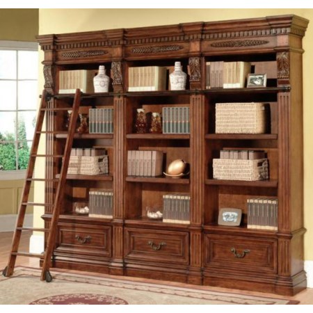 3 Bookcases and Museum Ladder