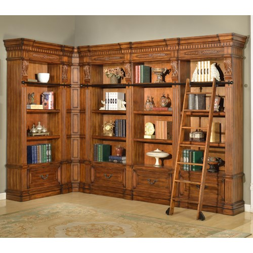 Parker House Granada 6 Piece Museum Corner Bookcase Unit with Ladder