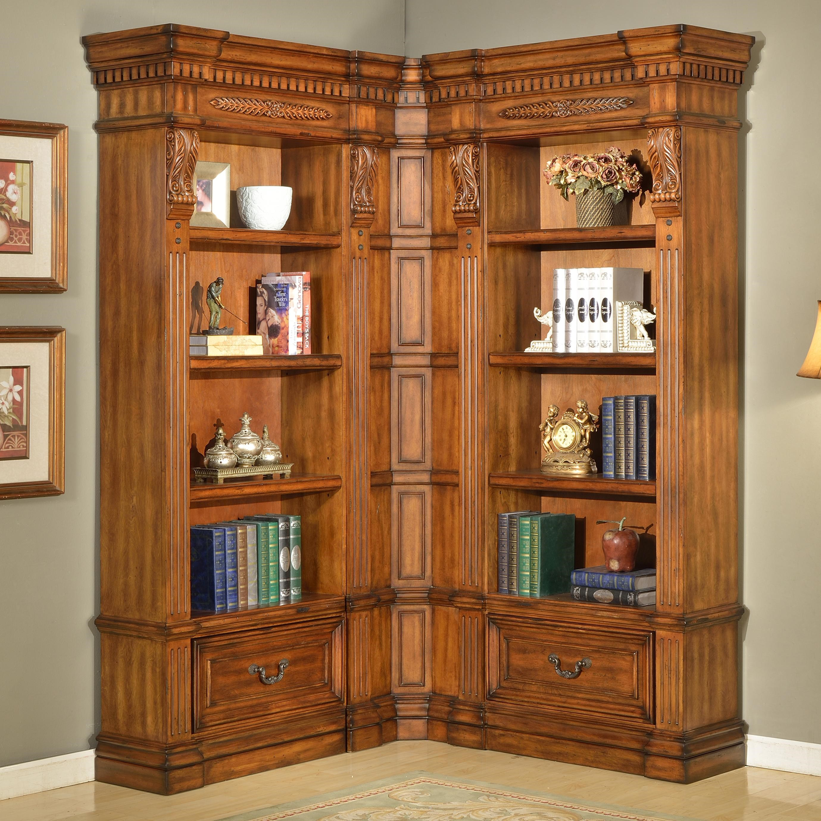 Granada 3 Piece Museum Corner Bookcase Wall Unit With 2 Drawers By Parker  House