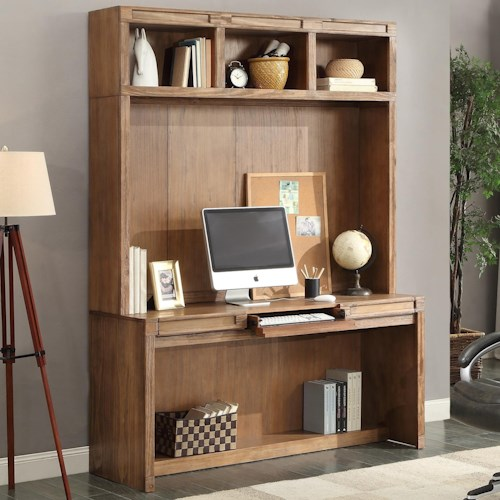 Parker House Hickory Creek Desk and Hutch with Power Center and Open Shelving