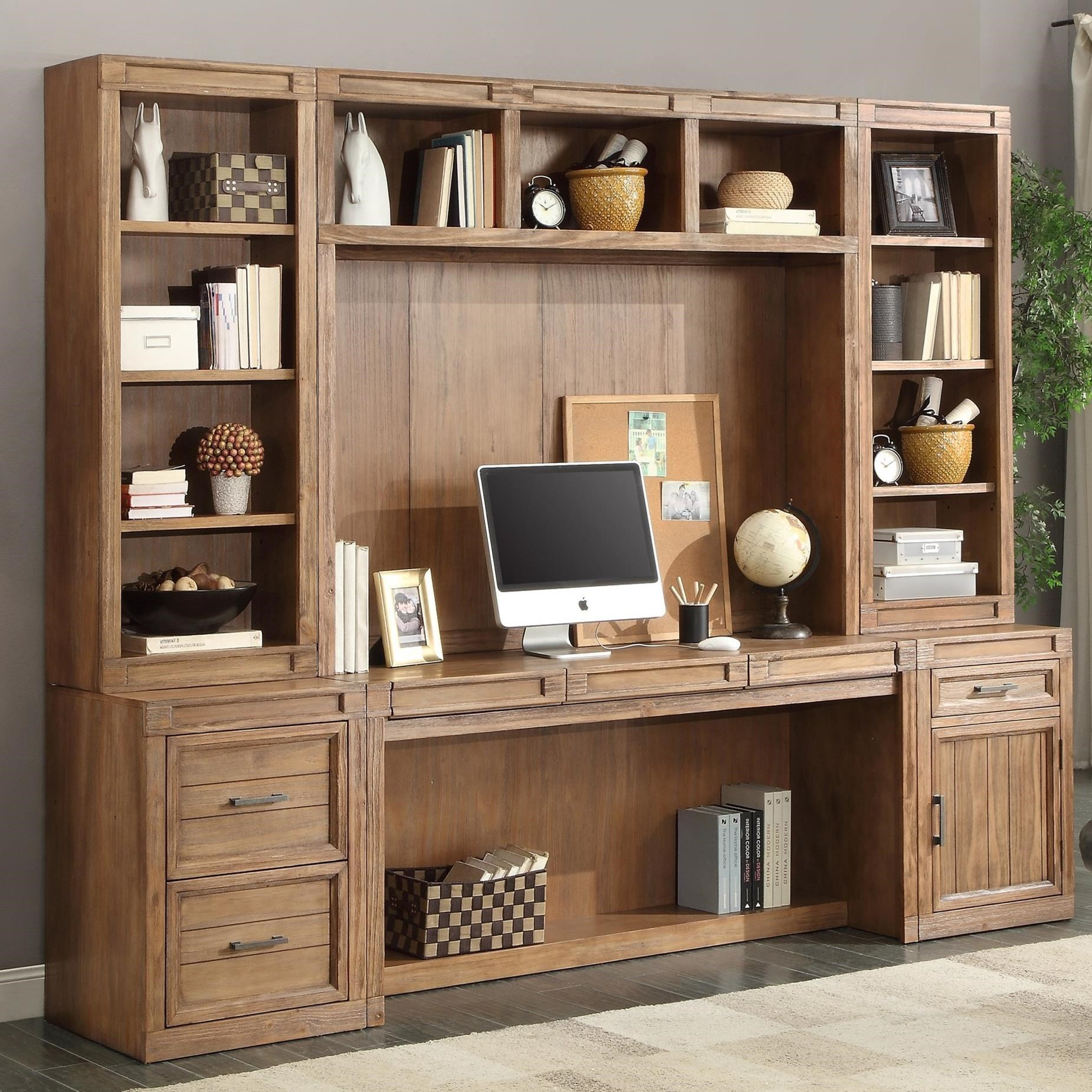 Hickory Creek 6 Piece Desk With Hutch And Printer Storage By Parker House