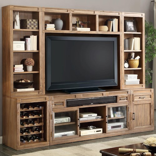 Parker House Hickory Creek 6 TV Console with Open Bookcase and Wine Bottle Storage