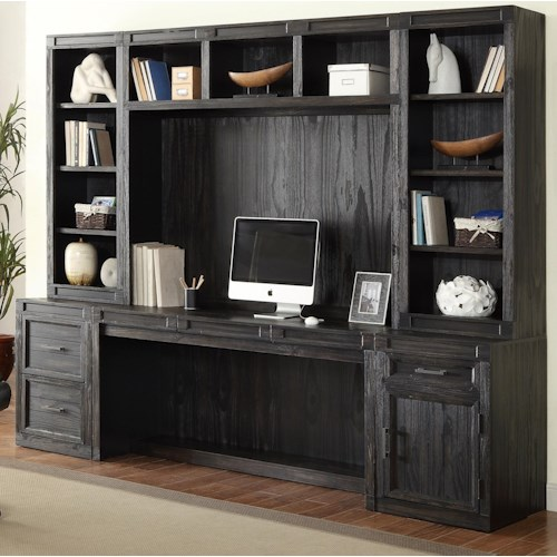 Parker House Hudson 6 Piece Desk with Hutch and Printer/File Storage