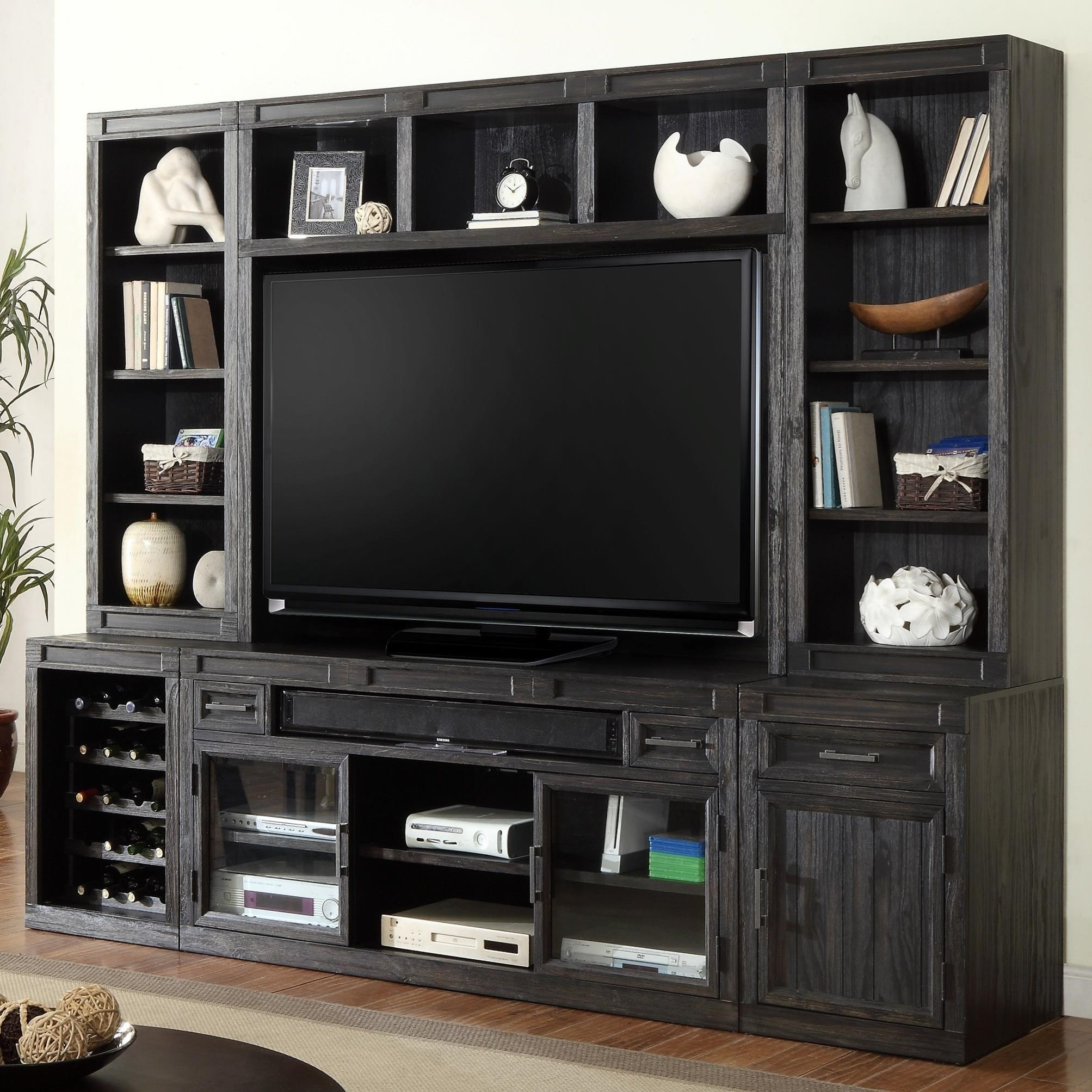 Hudson 6 Piece TV Console With Open Bookcase And Wine Bottle Storage
