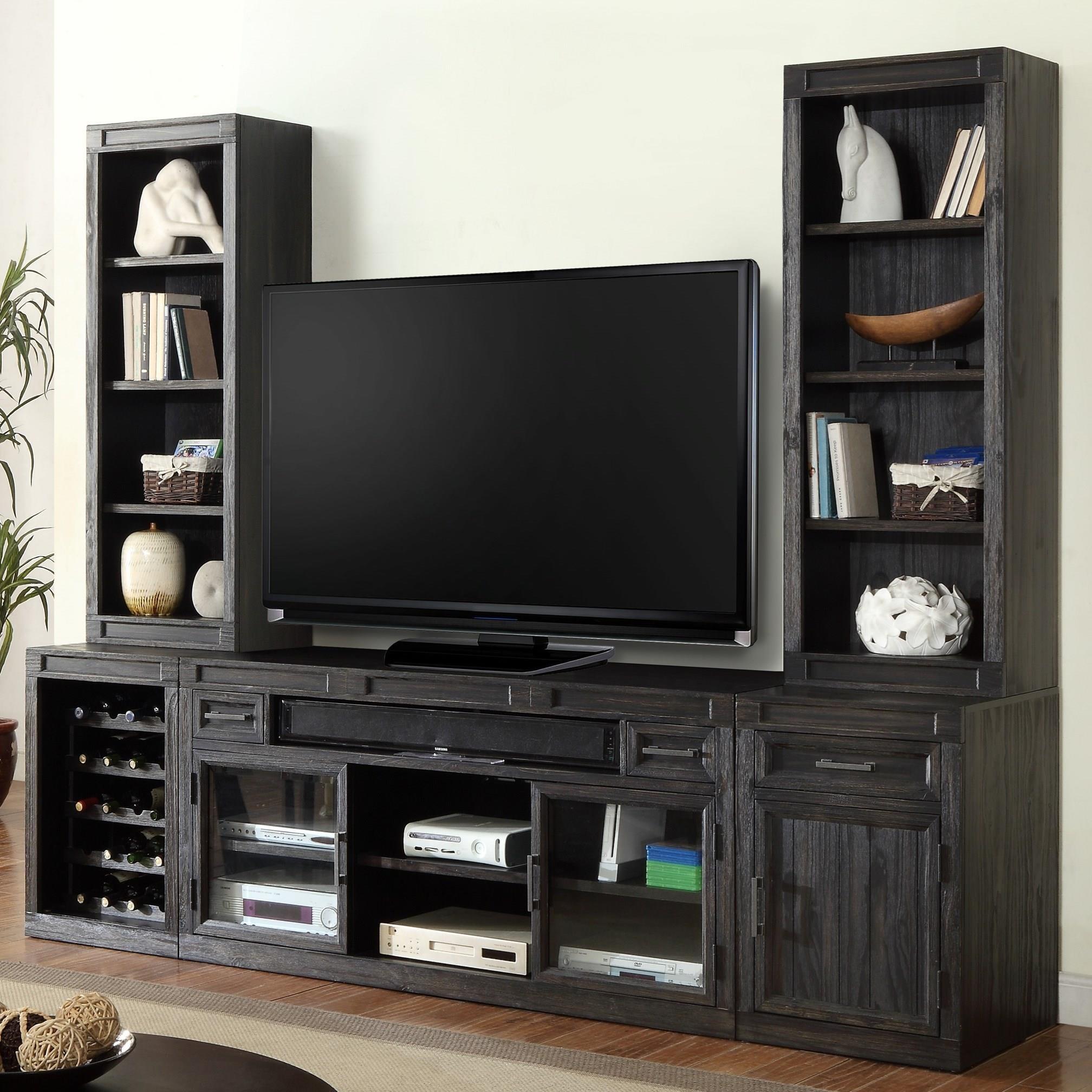Parker House Hudson 5 Piece TV Console With Bookcase Piers
