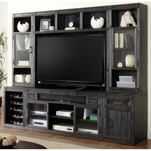Parker House Hudson 6 Piece TV Console with Bookcase Storage