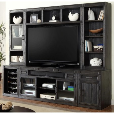6PC TV Console with Bookcase Storage