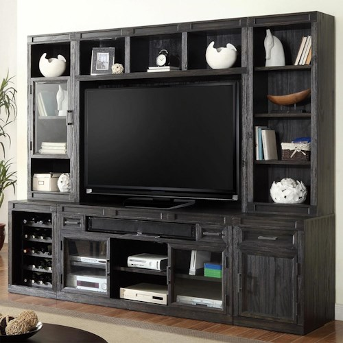 Parker House Hudson 6PC TV Console with Bookcase Storage
