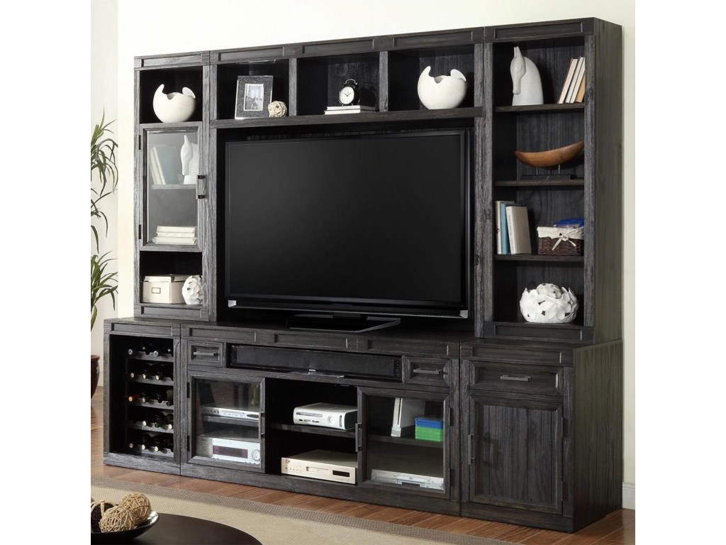 Parker House Hudson6PC TV Console with Bookcase Storage