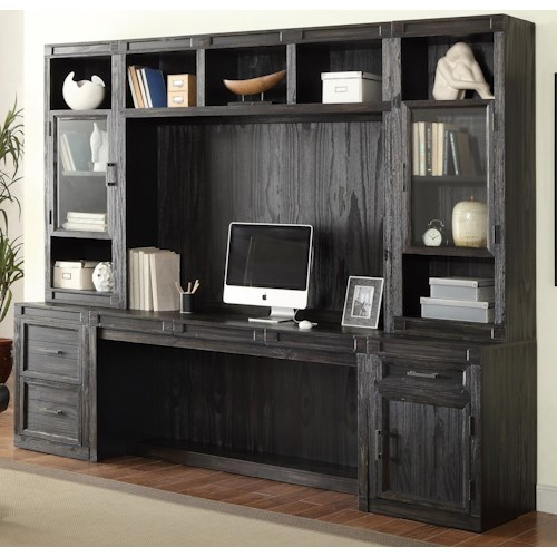 Parker House Hudson 6 Piece Desk with Hutch and Bookcase Storage