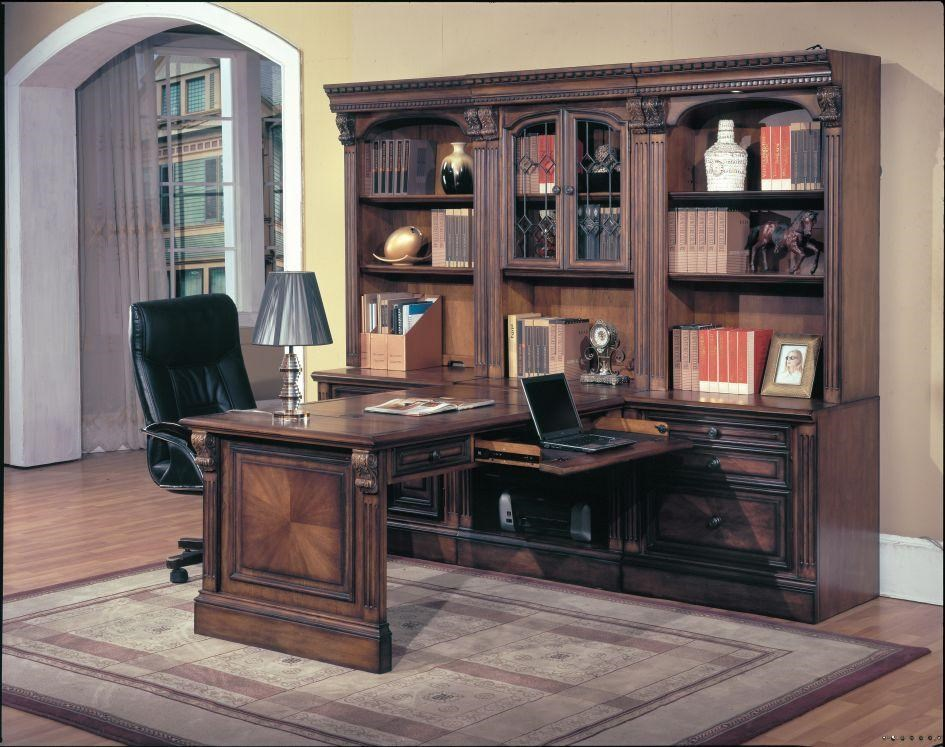 Peninsula Desk Shown with Computer Base, Door Base, File Base, Open Bookcase Top and Glass Bookcase Top