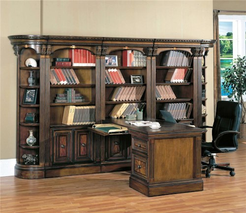 Parker House Huntington Large Bookcase Display Wall With Two Way Access Peninsula Desk