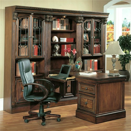 Parker House Huntington Small Peninsula Wall Unit Desk with Laptop Plug-In Ports and 2 Drop-Front Keyboard Drawers