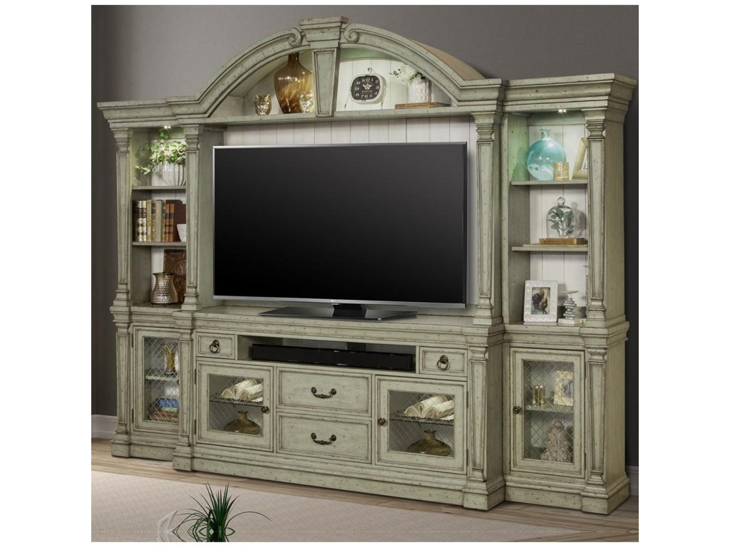 Lafayette Relaxed Vintage 4 Piece Entertainment Wall With Center And Touch Lighting By Parker House At Wayside Furniture