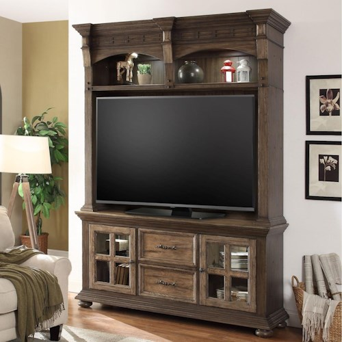 Parker House Laredo Entertainment Console and Hutch with LED Lights and Power Center