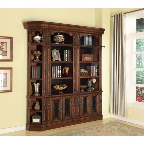 Parker House Leonardo 3 Piece Library Wall Open Top Bookcase with Outside Corner