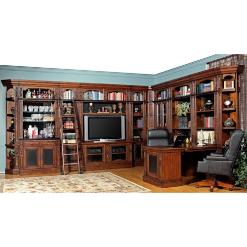 Parker House Leonardo Full Wall Library with TV Console, Bar Base and Peninsula Desk