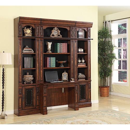 Parker House Leonardo 4 Piece Library Desk and Open Bookcase