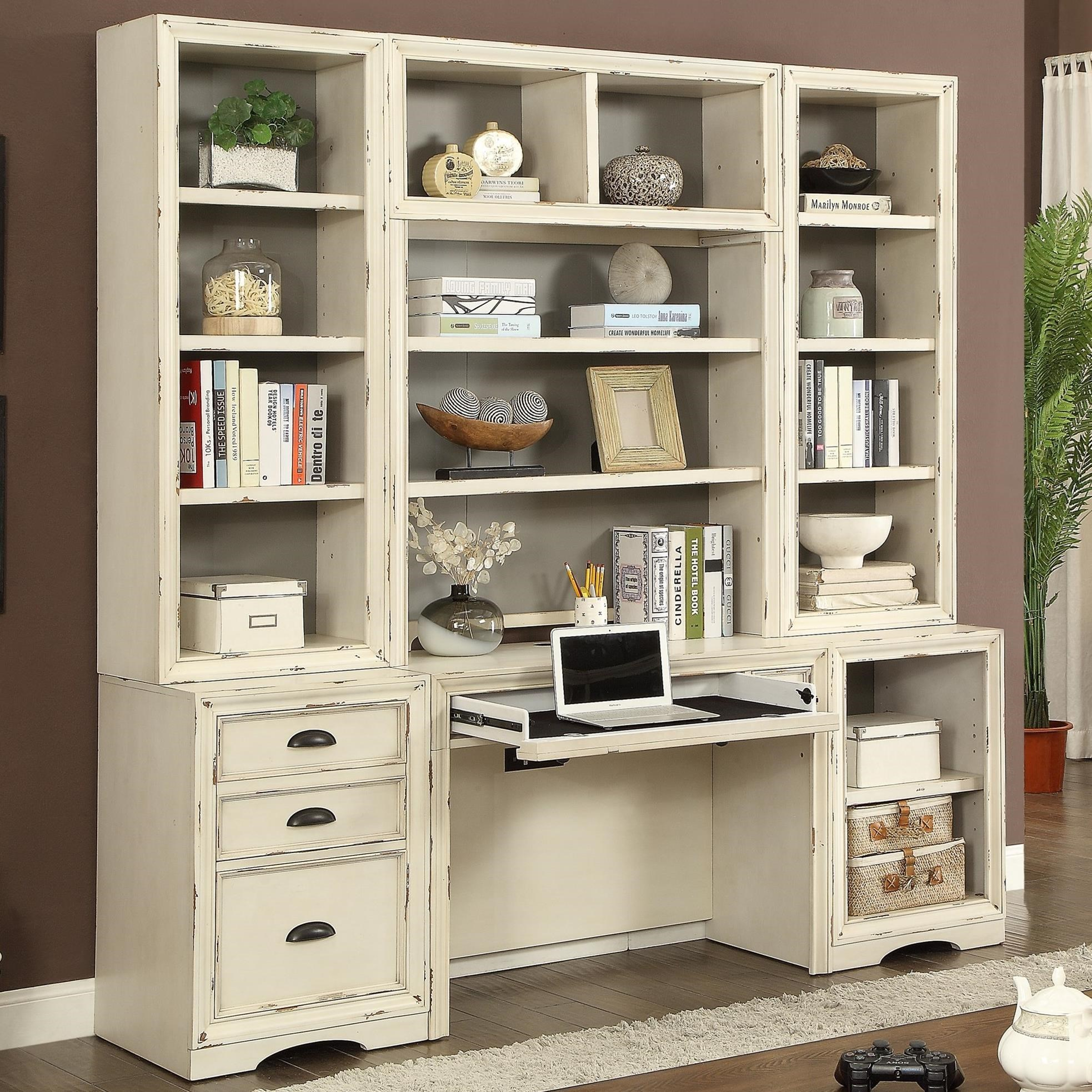 Parker House Nantucket 6 Piece Home Office Wall With Hutch And File Storage