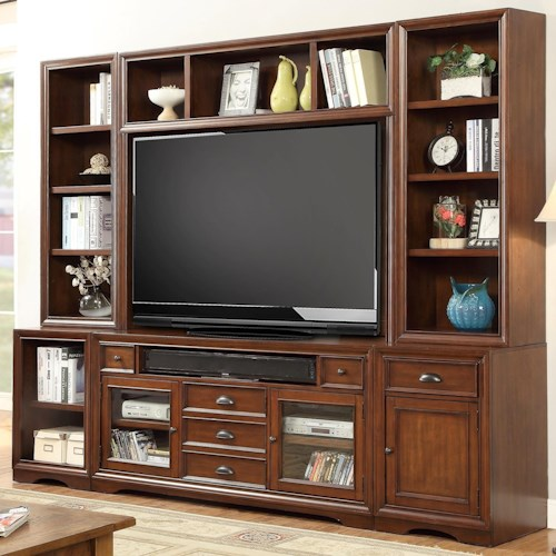 Parker House Napa 6 Piece Entertainment Wall with Display and Storage Shelving