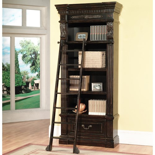 Parker House Palazzo  Museum Single Bookcase with 4 Shelves and Ladder