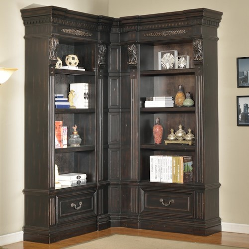 Parker House Palazzo 3 Piece Museum Corner Bookcase Wall Unit With 2 Drawers