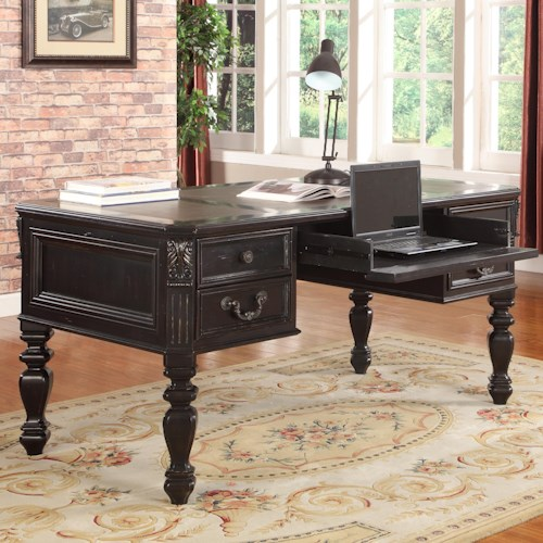 Parker House Palazzo  Traditional Writing Desk with Turned Legs and Vinyl Inlay Top