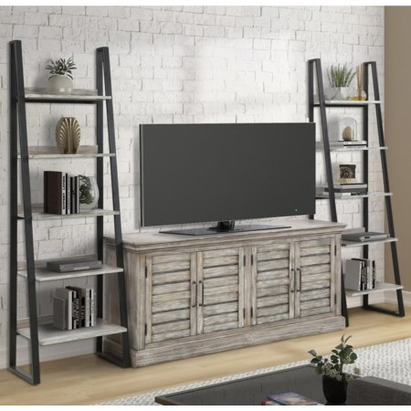 Savannah TV Console w/ 2 Pier Bookcases