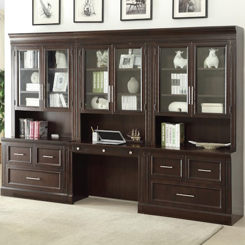 Parker House Stanford Wall Unit With Lateral Files And Built In Desk