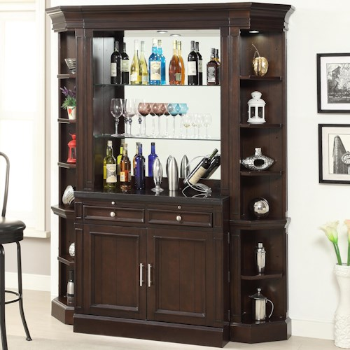 Parker House Stanford Bar with Granite Top and Wine Rack