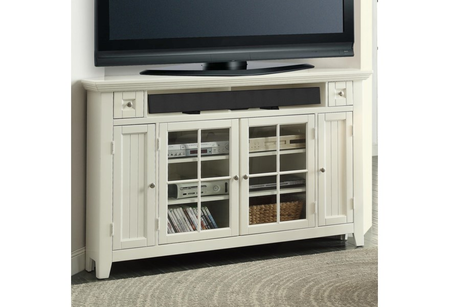 Parker House Tidewater 62 Corner Tv Console With Four Doors And Two Shelves Zak S Home Tv Stands