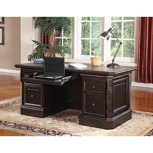 Parker House Venezia Double Pedestal Executive Desk with Leather Inset Desk Top