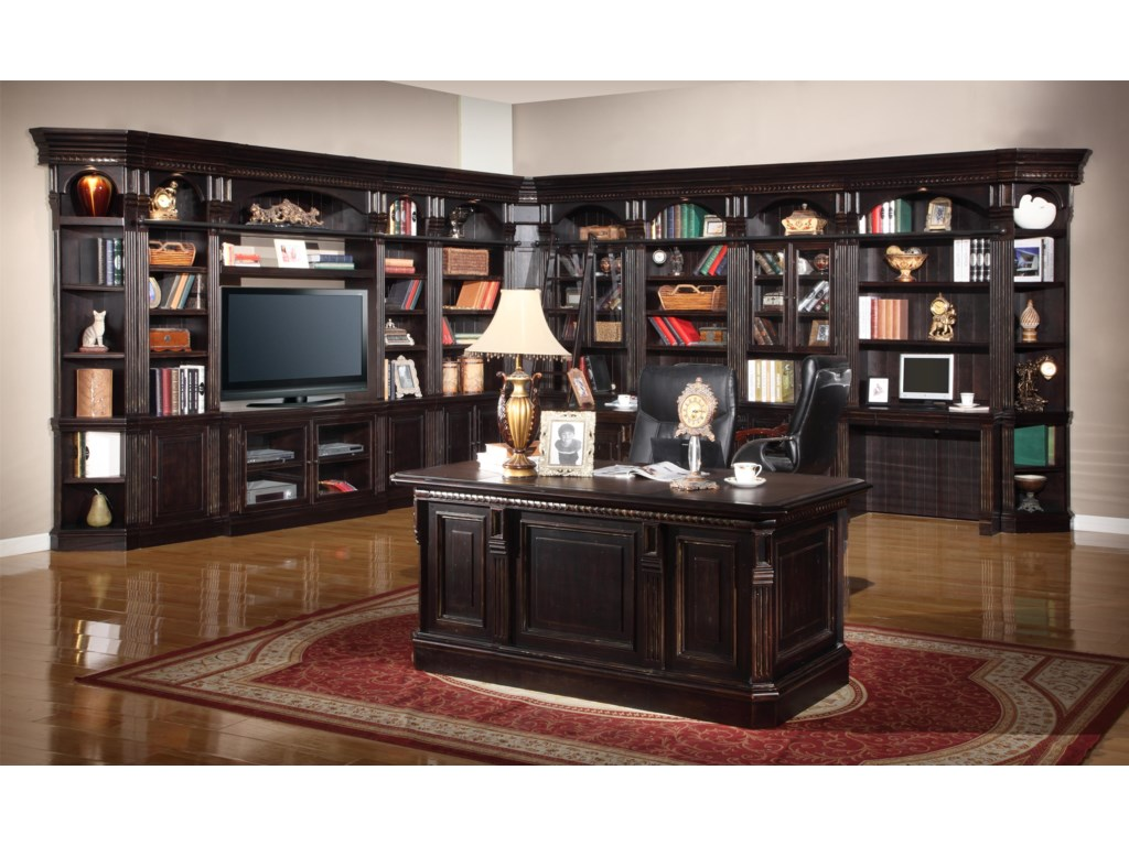Shown with 32-Inch Bookcases, 22-Inch Bookcases, TV Console and Bridge, Inside Corner Filler Unit, Outside Corner Units and Two-Piece Library Desk