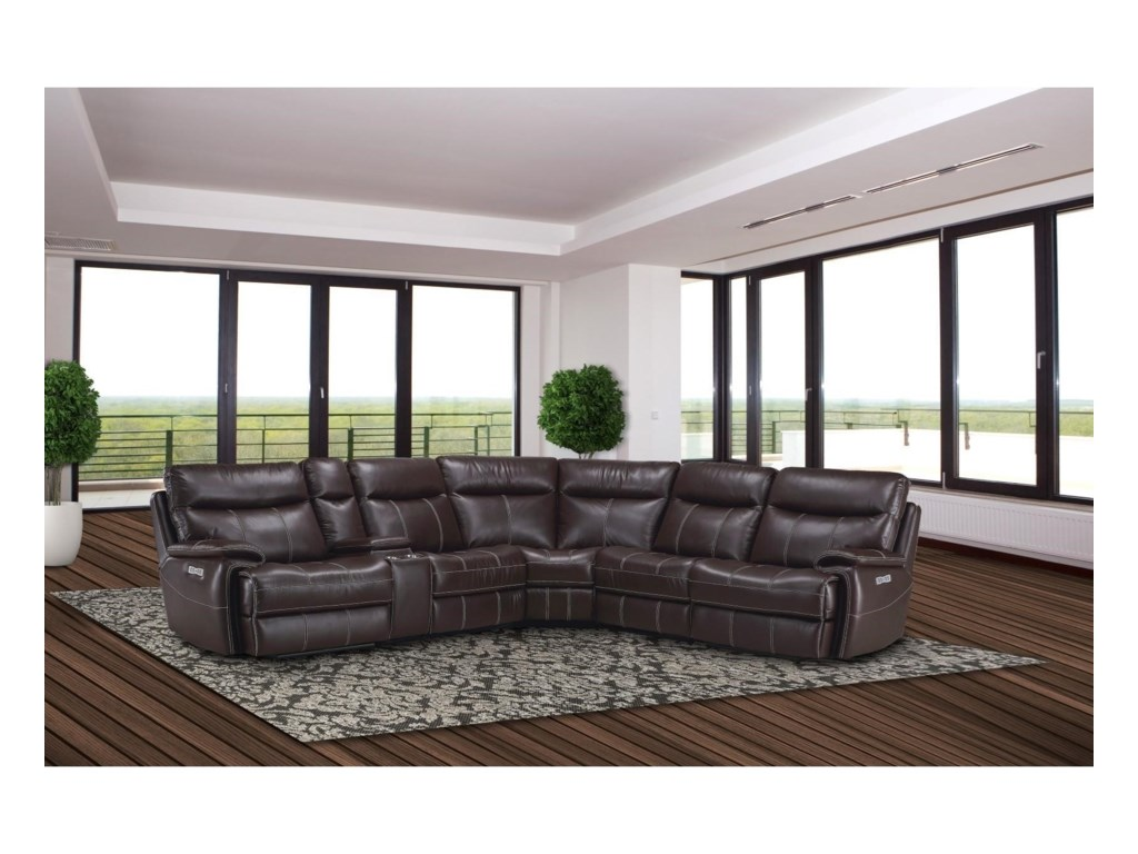 Parker Living Dylan Casual Reclining Sectional Sofa with Storage ...