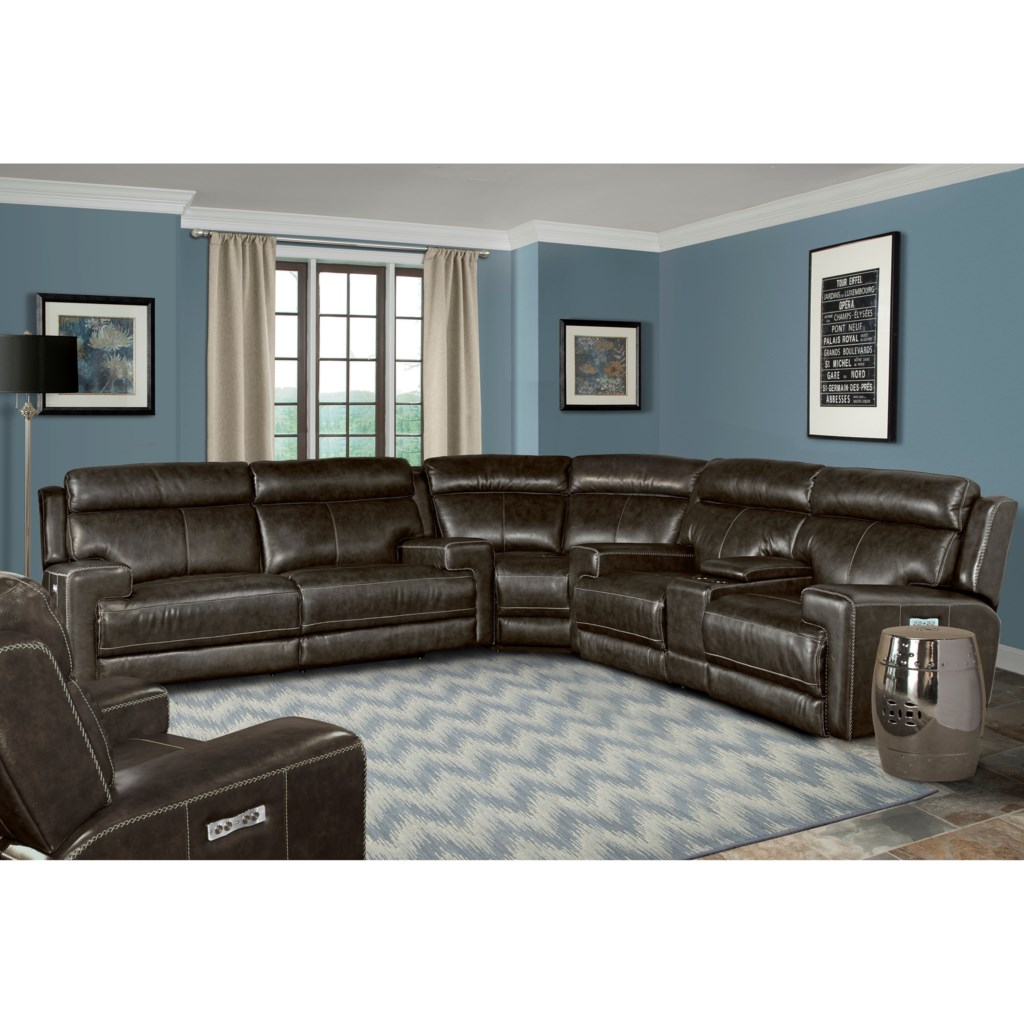 Parker Living Glacier Contemporary Power Reclining Sectional Sofa  ~ Power Motion Sectional Sofa