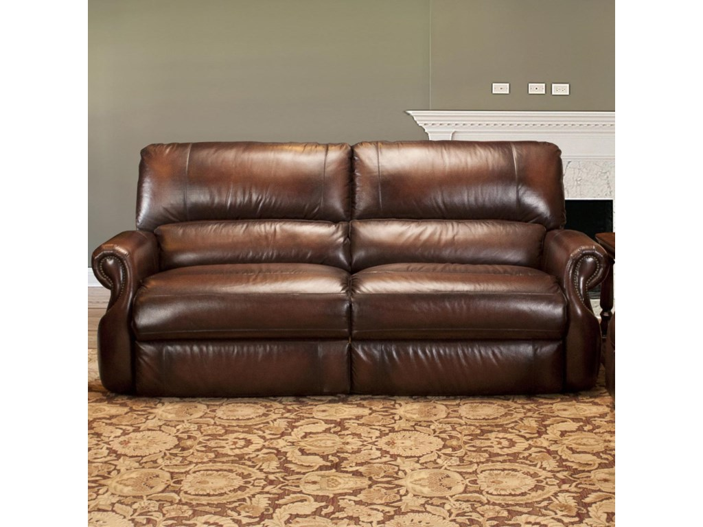 Traditional Dual Power Reclining Sofa With Rolled Arms Hawthorne