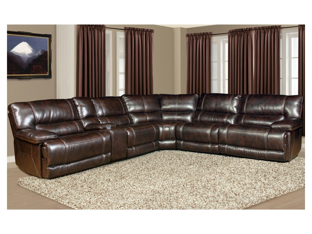 Pegasus 5 Seater Power Reclining Sectional Sofa with Cup Holder Console and  Large Pillow Arms by Parker Living at Sheely\'s Furniture & Appliance