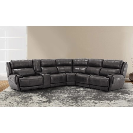 Leather Match Power 5pc Reclining Sectional