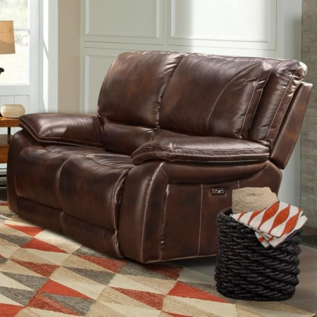 Leather Match Dual Power Reclining Loveseat