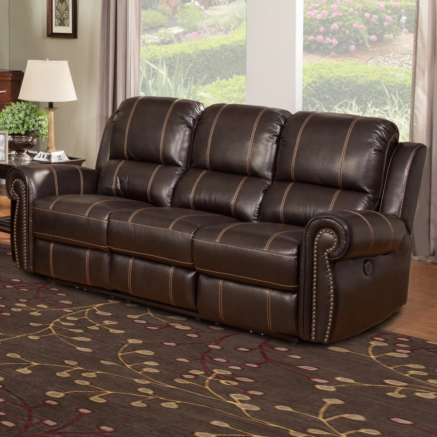 Parker Living Webber Traditional Power Reclining Sofa With Full Chaise  Cushion   Adcock Furniture   Reclining Sofas